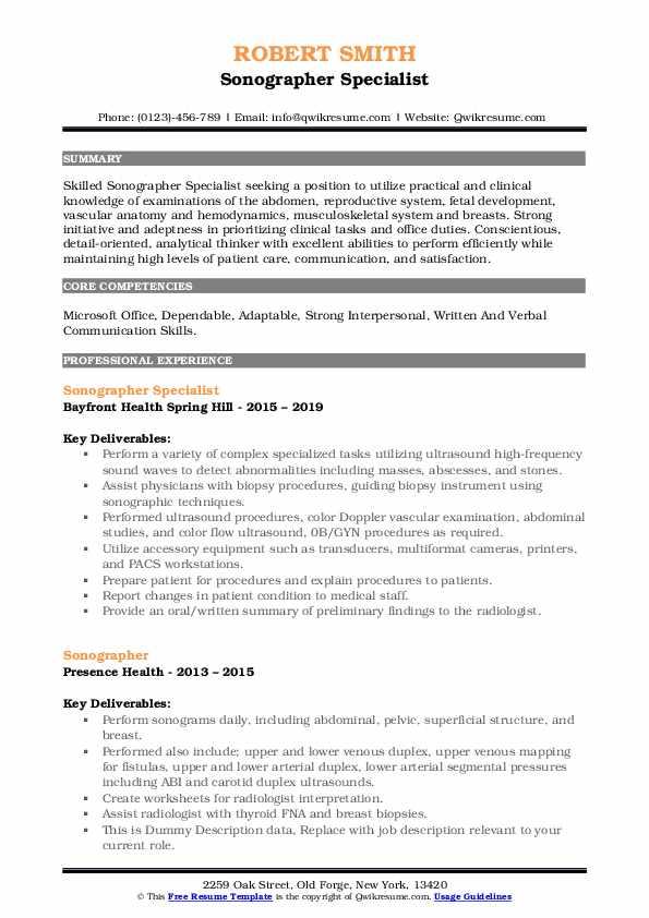 Sonographer Specialist Resume Format