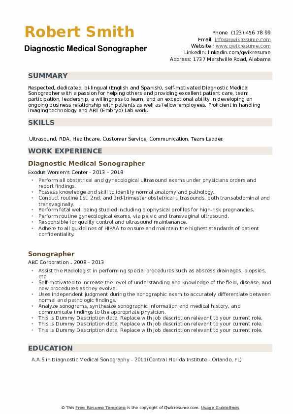 Diagnostic Medical Sonographer Resume Sample