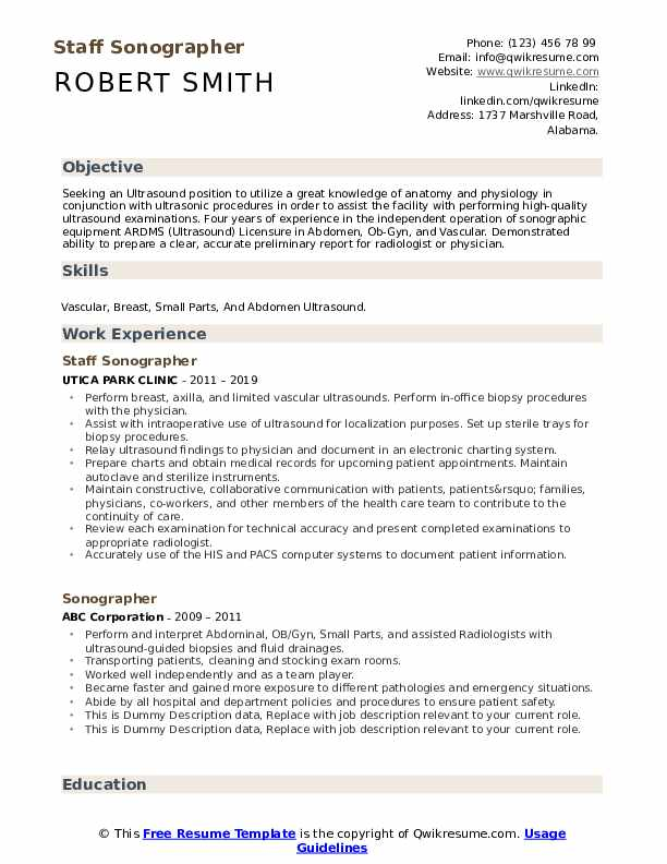 Sonographer Resume example