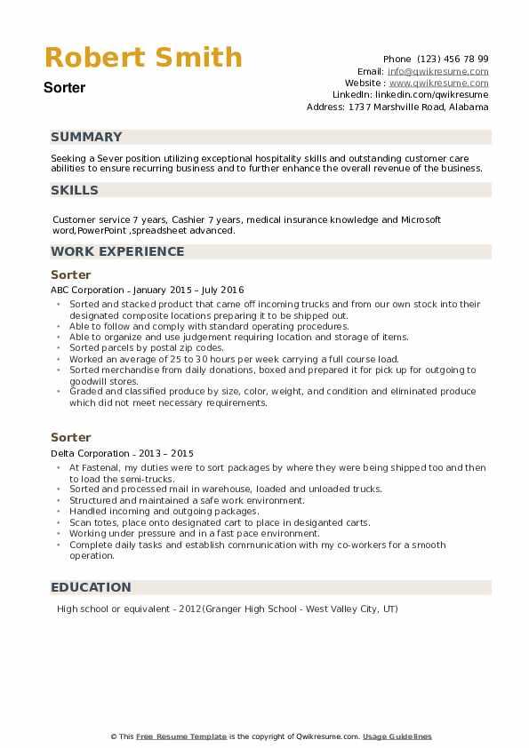 Sorter Resume example
