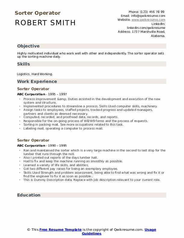 Sorter Operator Resume example