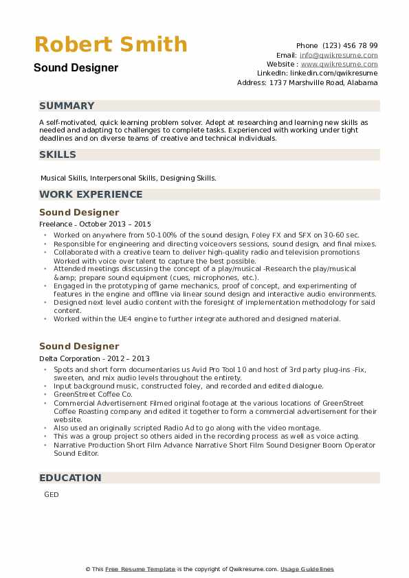 Sound Designer Resume example