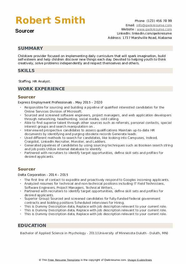 Sourcer Resume example