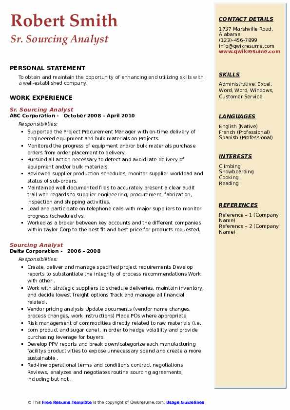 Sourcing Analyst Resume example