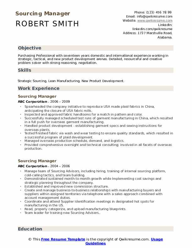 sourcing manager resume samples
