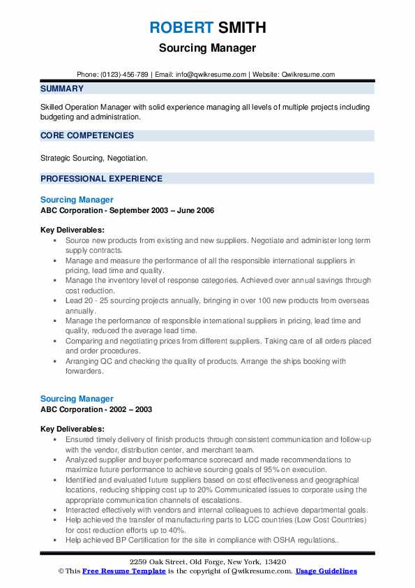 Sourcing Manager Resume example