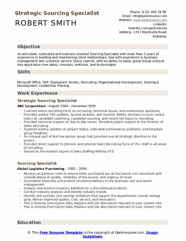 Sourcing Specialist Resume example