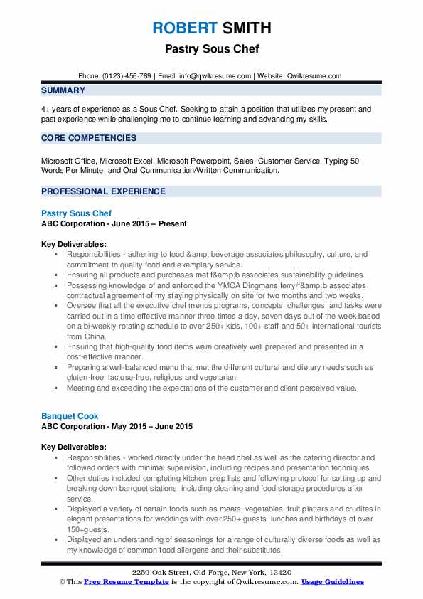 Pastry Sous Chef Resume Sample