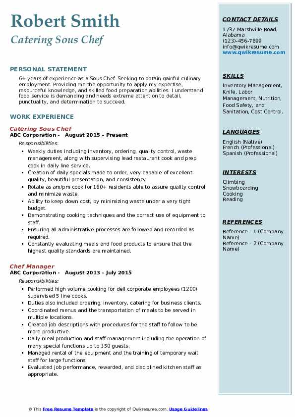 Catering Sous Chef Resume Sample
