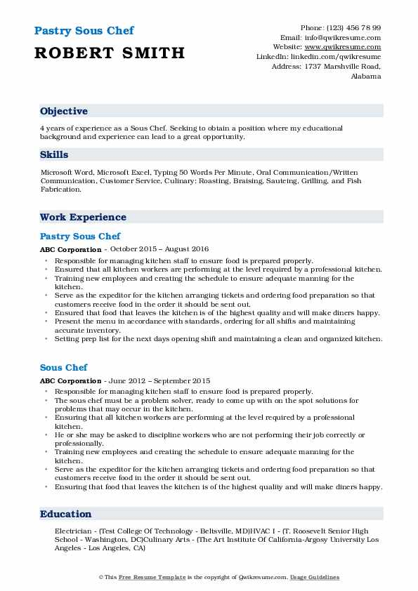Pastry Sous Chef Resume Template