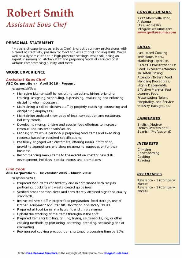 Assistant Sous Chef Resume Template