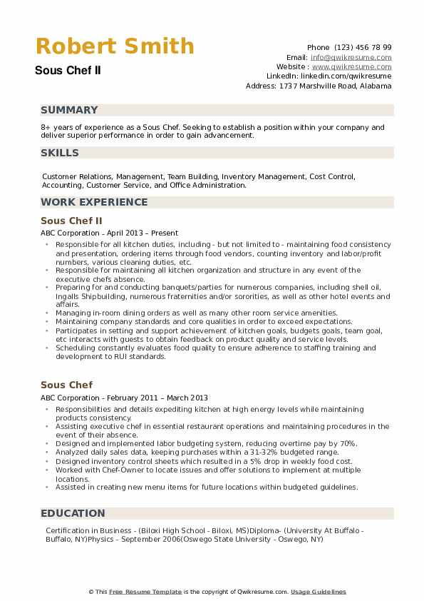 sous chef resume samples