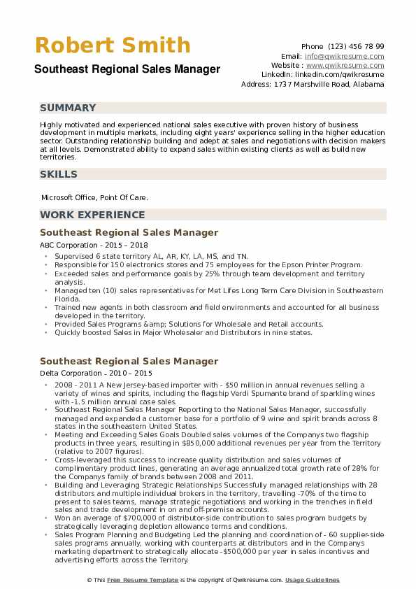 Southeast Regional Sales Manager Resume example