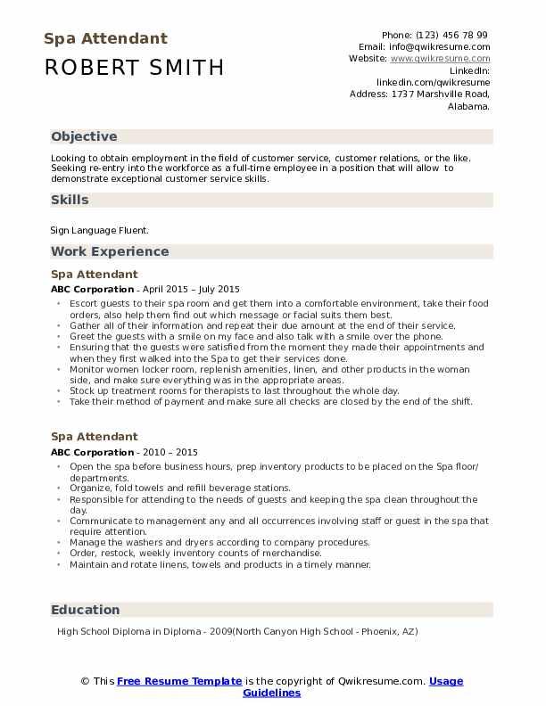 Spa Attendant Resume Template