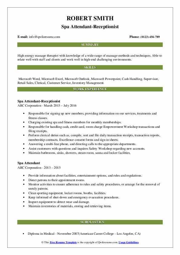 Spa Attendant-Receptionist Resume Format