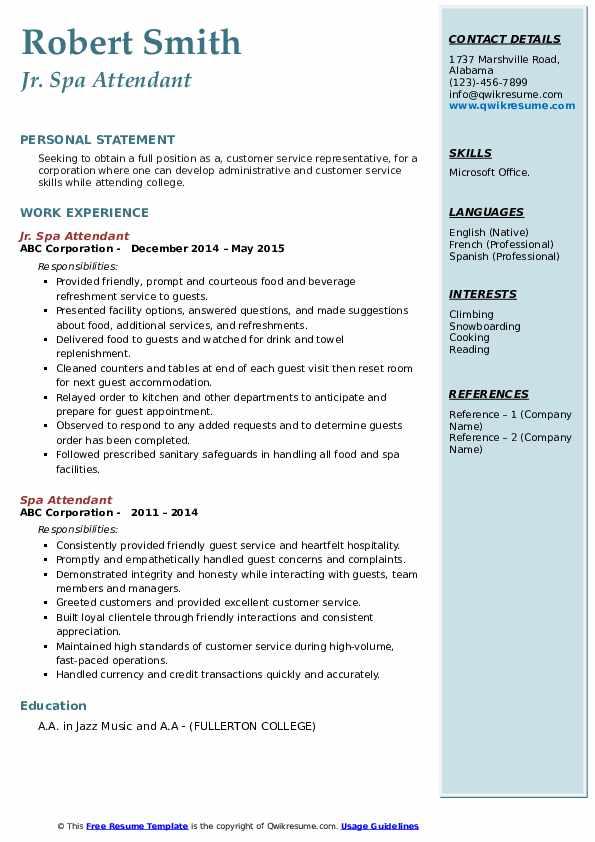 Jr. Spa Attendant Resume Sample
