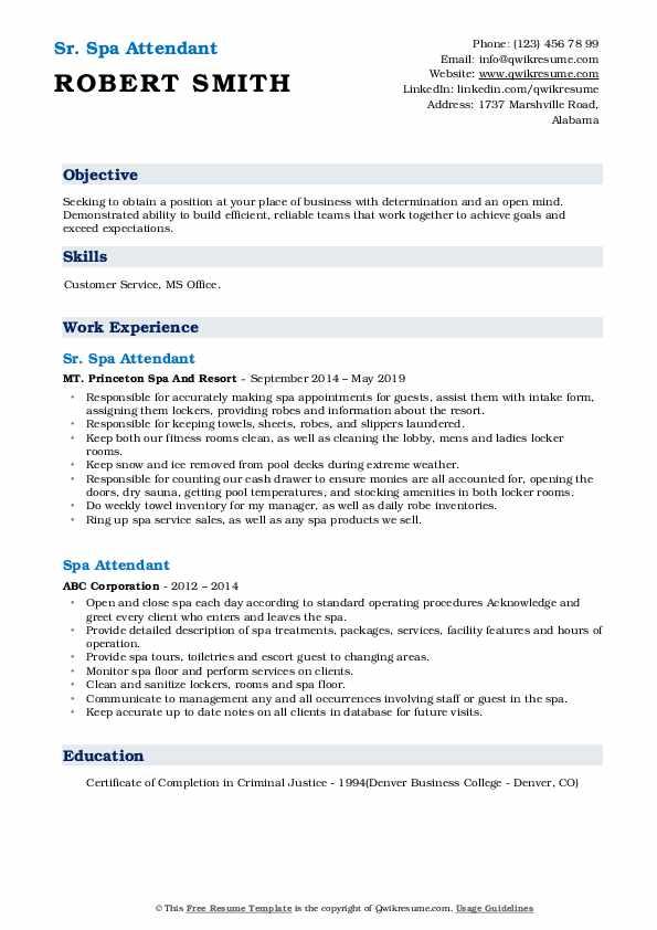 Sr. Spa Attendant Resume Format