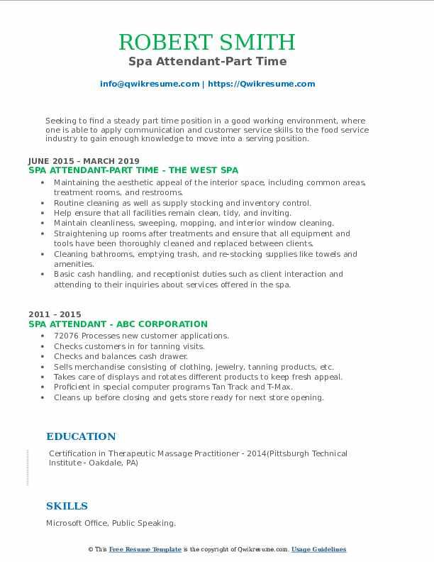 Spa Attendant-Part Time Resume Model