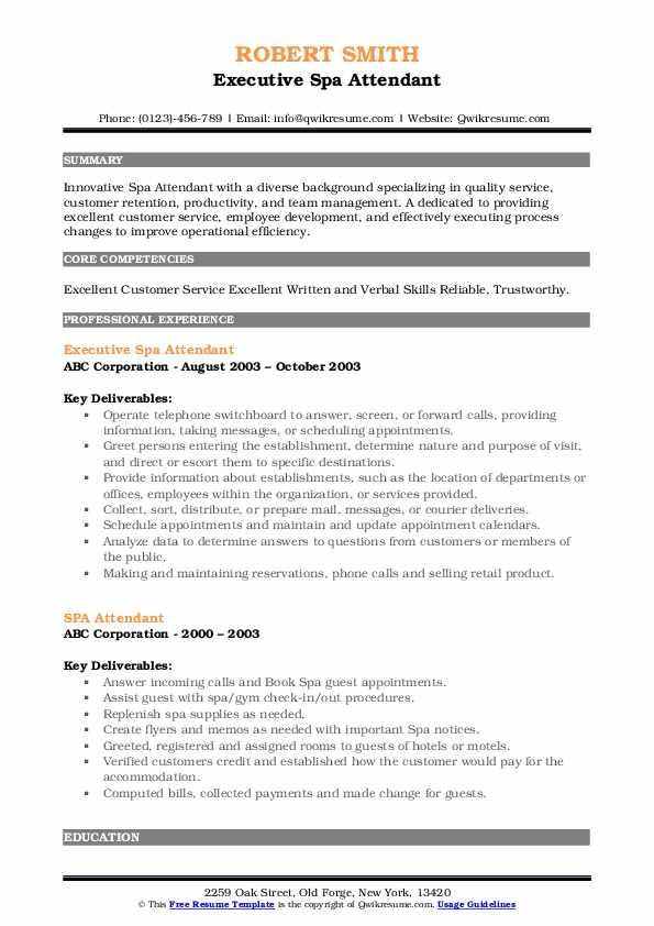Executive Spa Attendant Resume Format