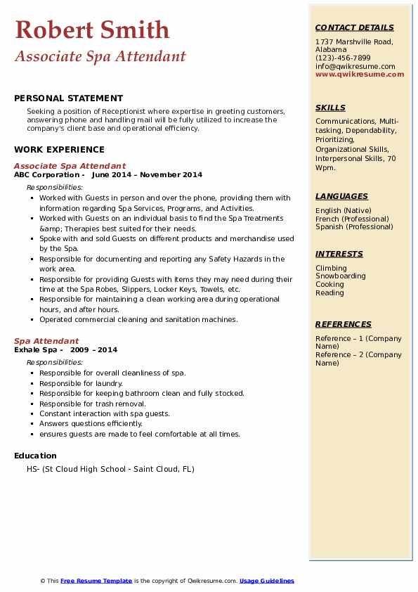Associate Spa Attendant Resume Sample