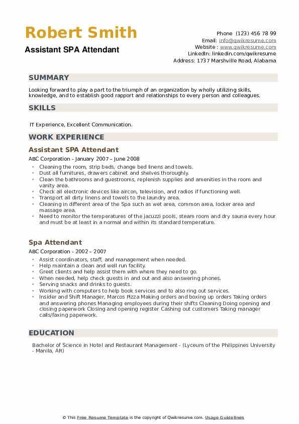 Assistant SPA Attendant Resume Sample