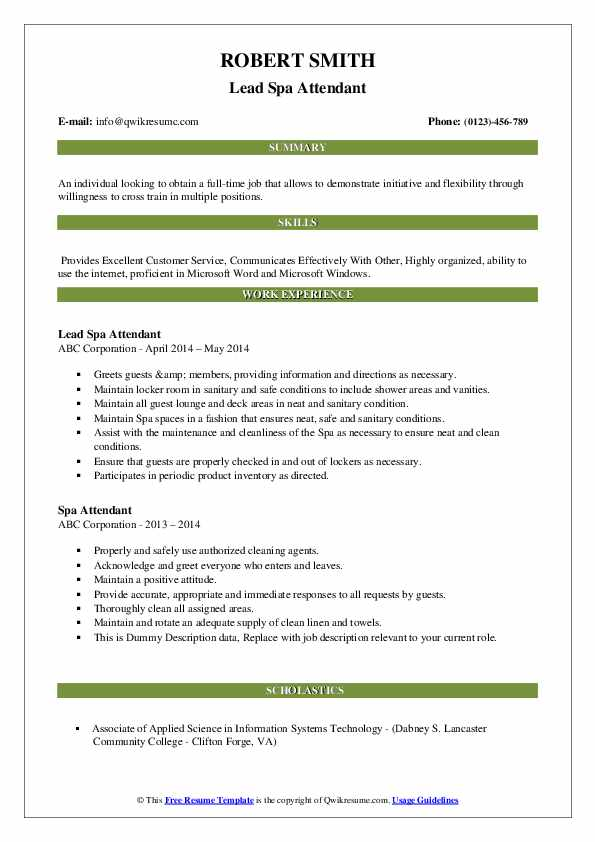 Lead Spa Attendant Resume Model
