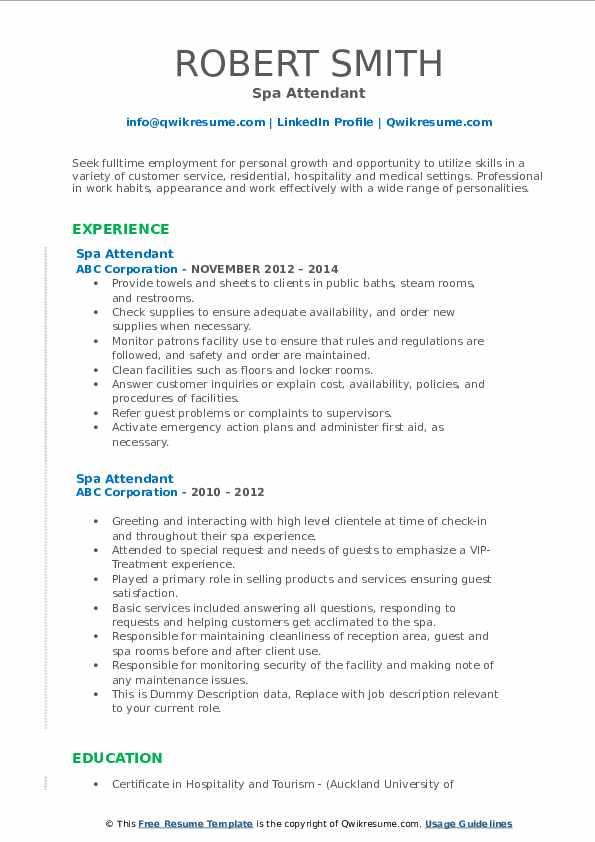 Spa Attendant Resume example