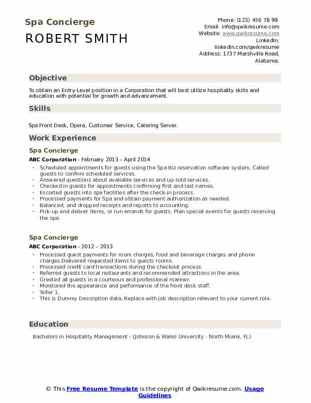 Spa Concierge Resume example