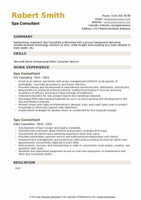Spa Consultant Resume example