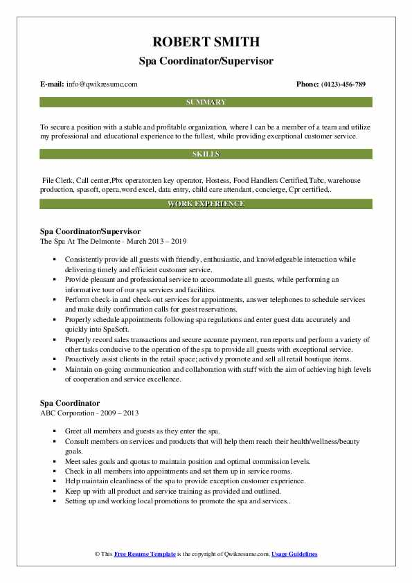 spa coordinator resume samples