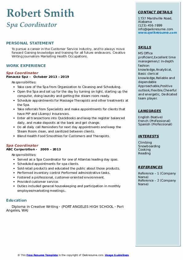 Spa Coordinator Resume example