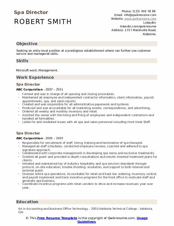 assistant spa director resume