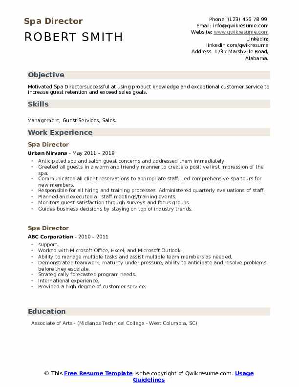Spa Director Resume example