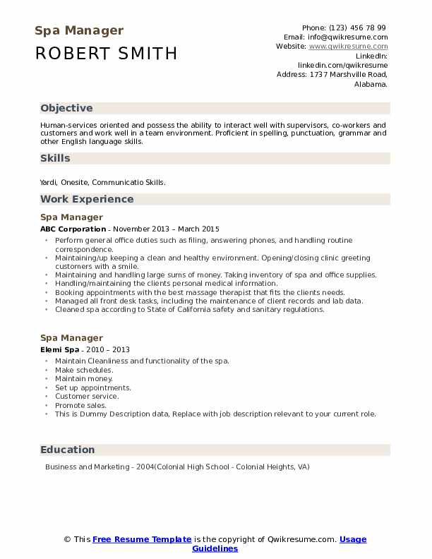 Spa Manager Resume example