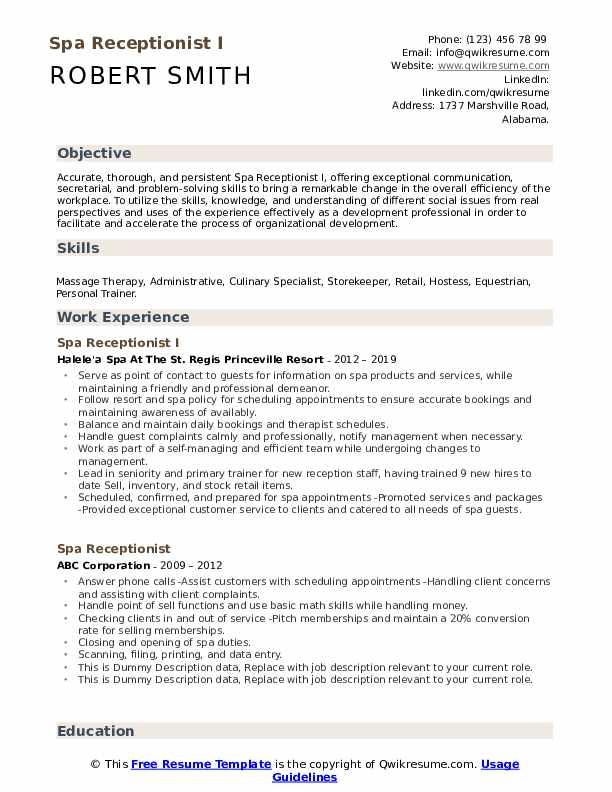 day spa front desk resume