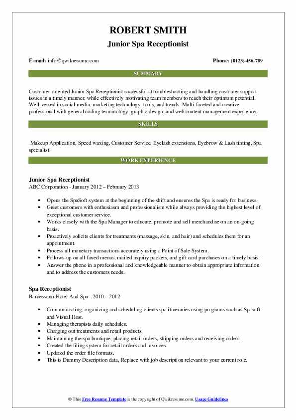 Day spa front desk resume summary analysis essay sample
