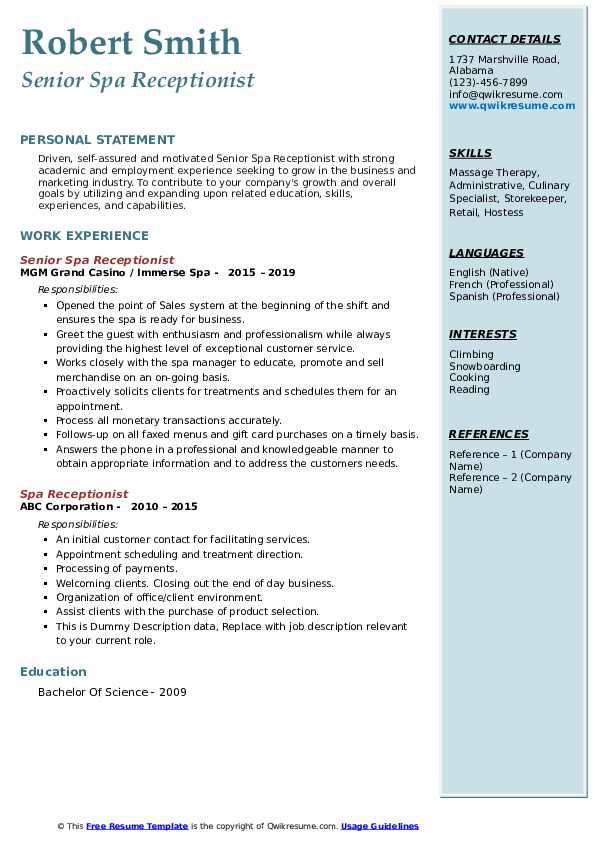 Day spa front desk resume essay georgetown sample