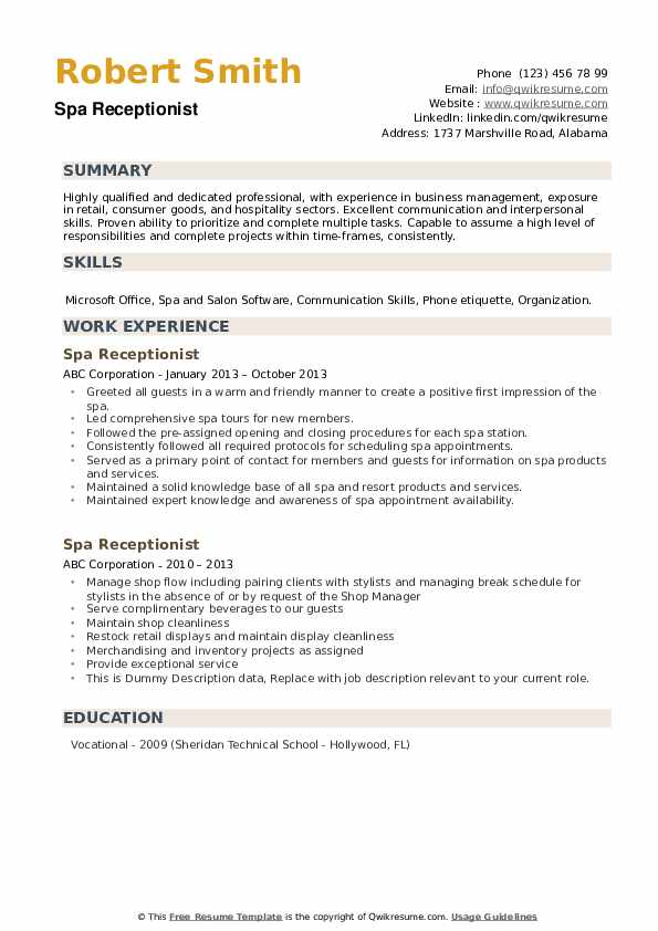 Spa Receptionist Resume Samples Qwikresume