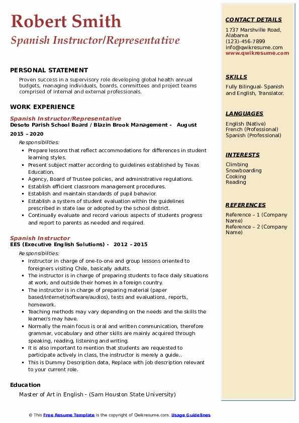 Spanish Instructor Resume example