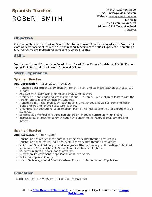 Spanish Teacher Resume Samples | QwikResume