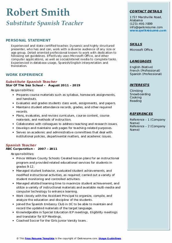 spanish teacher resume samples
