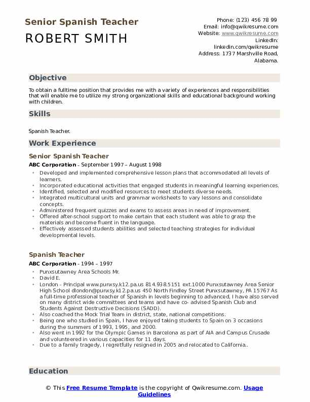 Senior Spanish Teacher Resume Format
