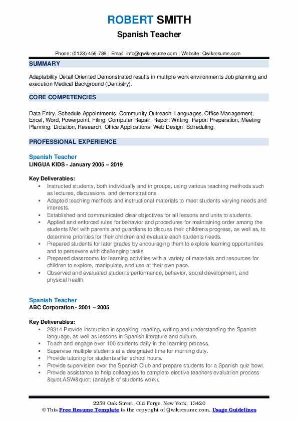 Spanish Teacher Resume example