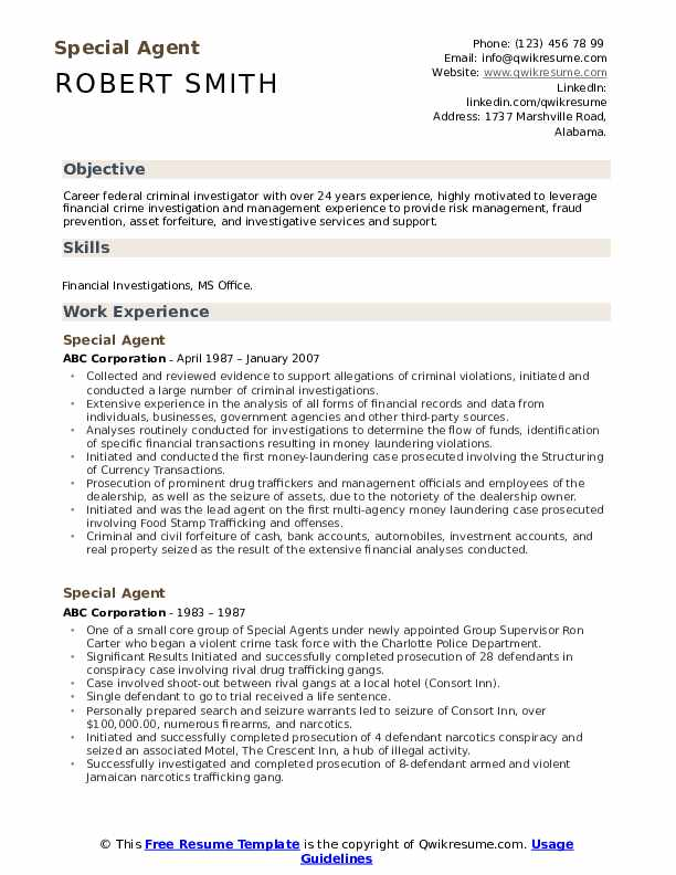 Special Agent Resume Format
