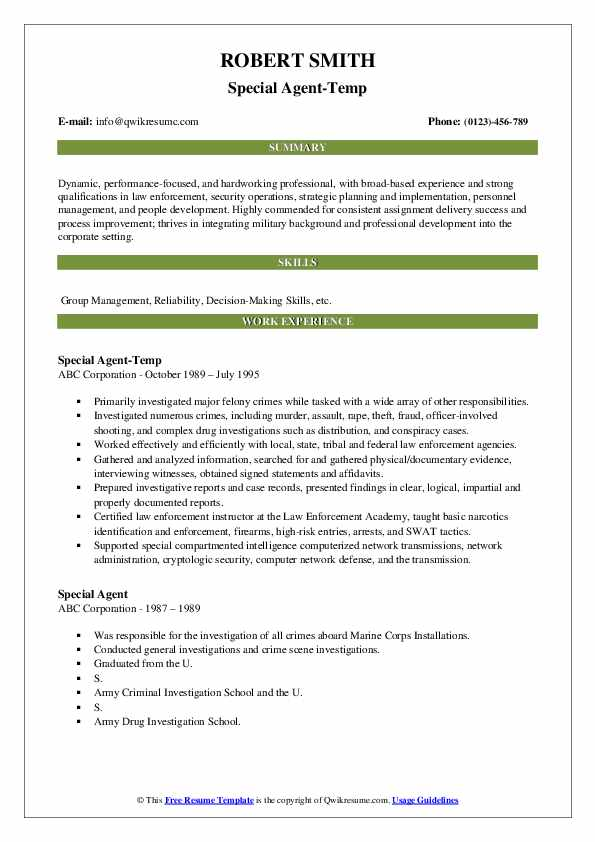 Special Agent-Temp Resume Format