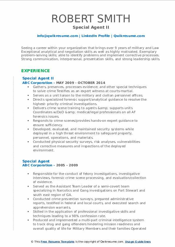 Special Agent II Resume Format