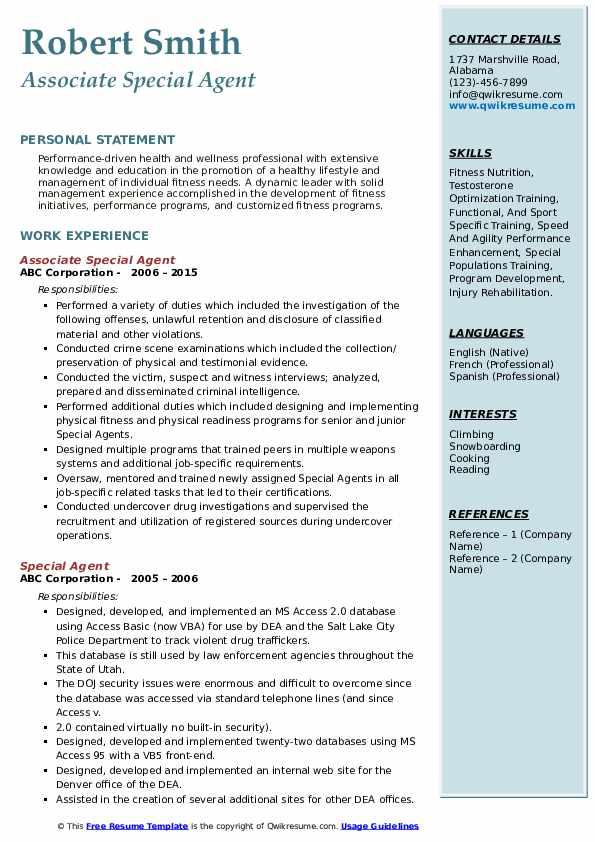 Associate Special Agent Resume Format