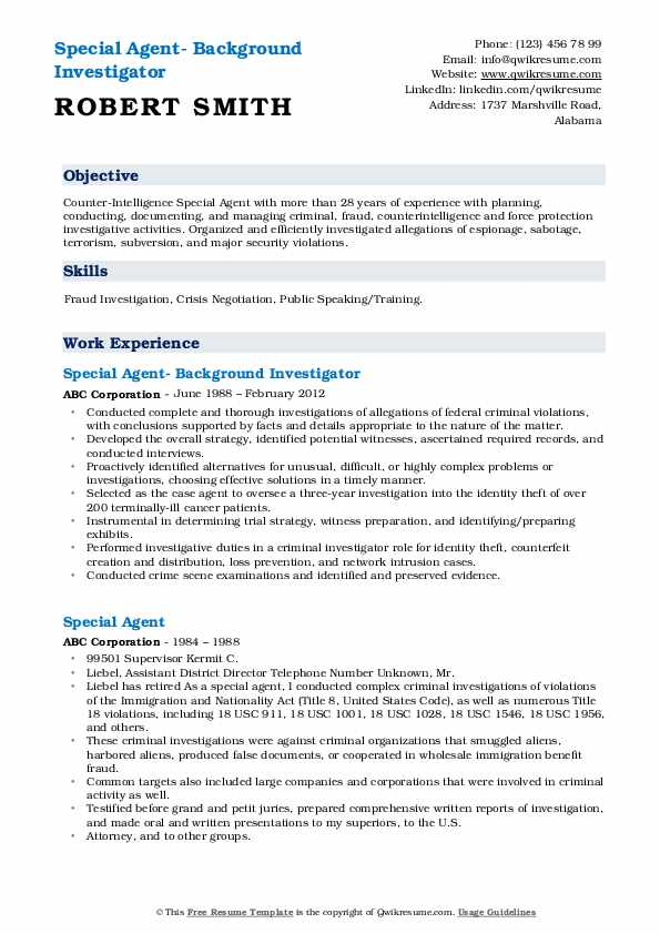 Special Agent- Background Investigator Resume Model
