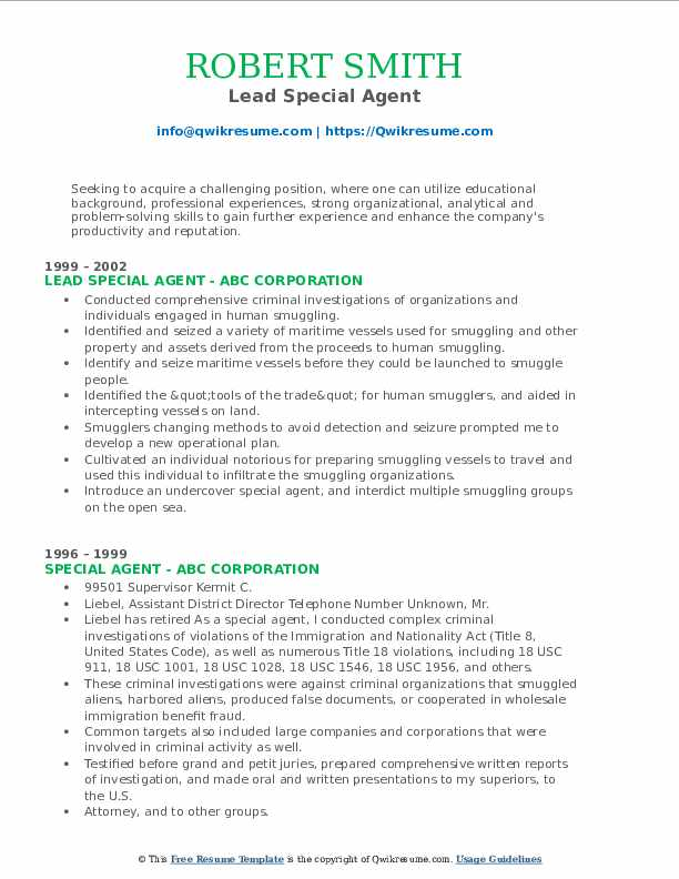 Lead Special Agent Resume Template