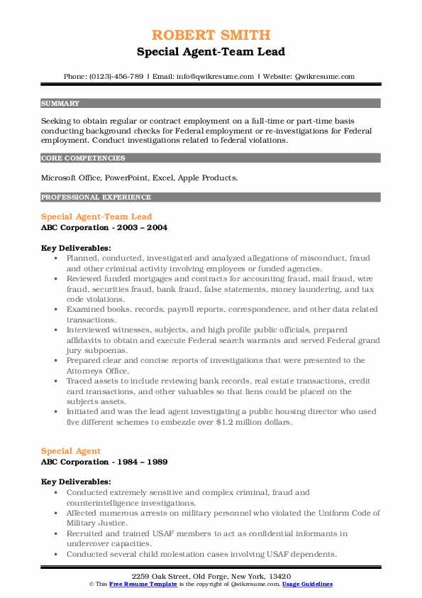 Special Agent-Team Lead Resume Example